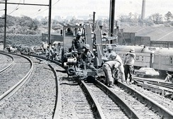 Northeast Corridor Improvement Project track work in April 1979