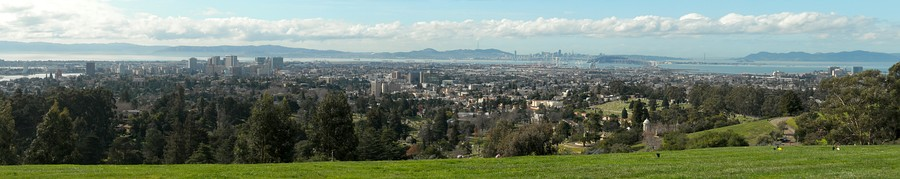 Panorama of Oakland, California, from the top of Mountain View Cemetery