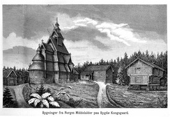 The open-air museum of King Oscar II at Bygdøy near Oslo in the museum guide of 1888. The World's first open-air museum was founded in 1881.