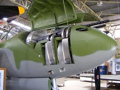 M2 machine gun armament in the nose of the P-38.