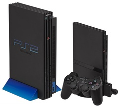 Original PlayStation 2 and Slimline PlayStation 2 with DualShock 2 controller