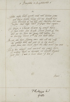 The first sonnet of Wroth's manuscript of Pamphilia to Amphilanthus, c. 1620