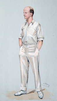 Caricature of a cricketer with his hands in his pockets