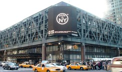The Port Authority Bus Terminal, the world's busiest bus station, at 8th Avenue and 42nd Street.[501]