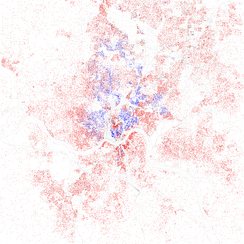 Map of racial distribution in Cincinnati, 2010 U.S. Census. Each dot is 25 people: White, Black, Asian, Hispanic or Other (yellow)