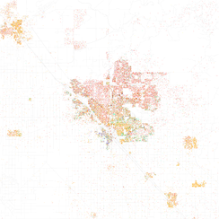 Map of racial distribution in Fresno, 2010 U.S. Census. Each dot is 25 people: White, Black, Asian, Hispanic or Other (yellow)