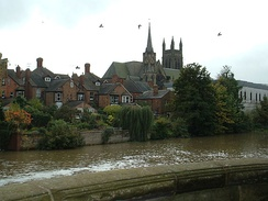 View across the River Leam to the All Saints Church from Jephson Gardens