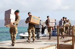 Royal Marines delivering aid and providing support to the islanders of Jost Van Dyke, British Virgin Islands