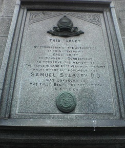 Tablet dedicated to the consecration of Samuel Seabury as the first Anglican bishop in the Americas.