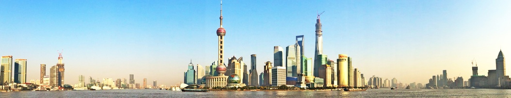 Panoramic view of Pudong's Skyline from the Bund in Shanghai, the largest city proper by population in the world.[28]