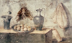 Eggs, thrushes, napkin, and vessels (wall painting from the House of Julia Felix, Pompeii)