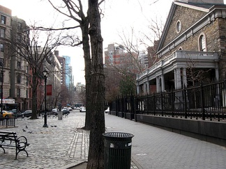 Stuyvesant Street, one of the neighborhood's oldest streets, in front of St. Mark's Church in-the-Bowery. It served as the boundary between boweries 1 and 2, owned by Peter Stuyvesant.