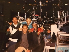 Members from Toots & the Maytals and Dave Matthews Band when performing together in 1998. Paul Douglas (left), Carter Beauford (back), LeRoi Moore (front), Toots Hibbert (right).