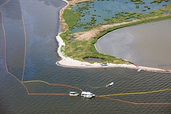 Oil containment boom used in an attempt to protect barrier islands
