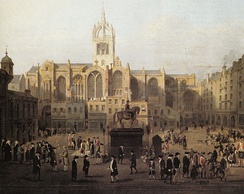 A painting showing Edinburgh characters (based on John Kay's caricatures) behind St Giles' Cathedral in the late 18th century