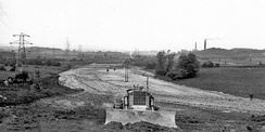 Looking north from B579 bridge at Chalton. Former cement works at Sundon to the right (May 1958)