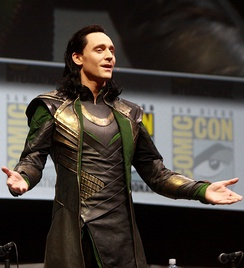 Hiddleston dressed as his character Loki at the San Diego Comic-Con in July 2013