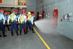 Training at the Recruit Training Command's fire fighting school
