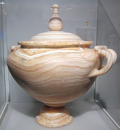 Ancient Roman urn made from alabaster.
