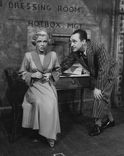 Vivian Blaine as Miss Adelaide and Sam Levene as Nathan Detroit in the original 1950 Broadway production of Guys and Dolls