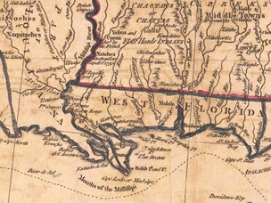 A Map of West Florida (bottom right), the U.S. (top right) and Louisiana (left), published in 1781, showing Mobile in the center of West Florida.