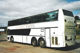 A British spec double deck Van Hool coach.