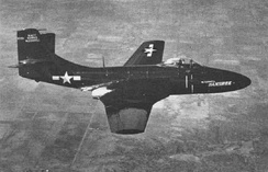 The XF2D-1 (later XF2H-1) in 1947. Note large vertical tailplane fairing and pronounced horizontal stabilizer dihedral.