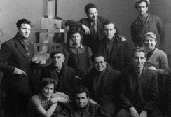 Students of the National Academy of Arts (circa 1952–53). People aged 20–25 years have been the most numerous group in the city since the process of Bulgarian urbanisation