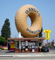 Randy's Donuts is a landmark in Inglewood, near the San Diego Freeway, also known as 405 Freeway.