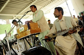 Band of Afghan musicians in Farah, Afghanistan