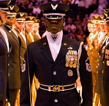 U.S. Air Force SNCO in honor guard uniform with ascot