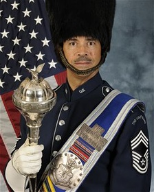 Chief Master Sgt. Edward J. Teleky in the uniform of USAF Band Drum-Major