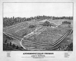 Andersonville Prison, surrounded by three rows of stockades.
