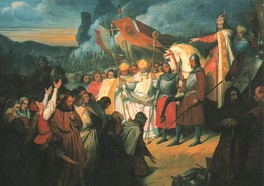 Charlemagne receiving the submission of Widukind at Paderborn in 785, painted c. 1840 by Ary Scheffer