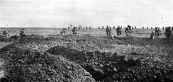 French infantry advance on the Chemin des Dames.