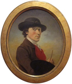 Self portrait (c:a 1770) of Peter Falconet (1741–1791). One of the earliest depicted prototypes of what became the top hat. In early prototypes, a sash around the crown was closed by a buckle. This was later dropped, in the same way as shoe buckles for male pumps were replaced by bowties around the turn of the 19th century.