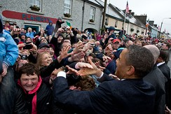 President Barack Obama greets local residents on Main Street in Moneygall, Ireland, May 23, 2011.