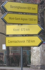 Signpost of twin towns in Brzeg Dolny.