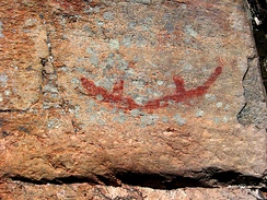 Canoe pictograph, Agnes Lake