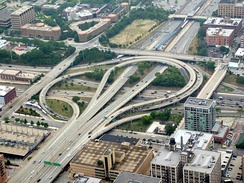 Aerial photo of the Jane Byrne Interchange, opened in the 1960s