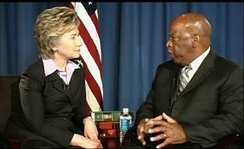 Senator Hillary Clinton interviews John Lewis in August 2005, concerning the importance of the Supreme Court to civil rights