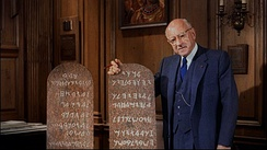 Ten Commandments tablets made from Mt. Sinai stone with Cecil B. DeMille. Inscription is identical to the props in the film.