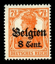 "A German postage stamp, overprinted with the word ""Belgium"", for use under the occupation"