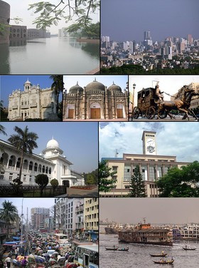 1. National Parliament 2. Motijheel commercial area 3. Rose Garden 4. Khan Mohammad Mridha Mosque 5. Ramna 6. Supreme Court of Bangladesh 7. RAJUK Bhaban 8. Steamers and ferries on the Sadarghat, Dhaka Riverfront