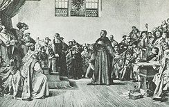 Luther Before the Diet of Worms. Photogravure based on the painting by Anton von Werner (1843–1915)