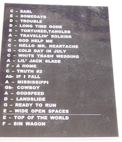 Actual set list from Dixie Chicks concert on the Top of the World Tour: Madison Square Garden, June 20, 2003.