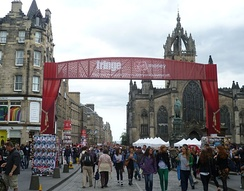 Entrance to the High Street, street performances.