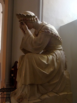 Statue depicting Our Lady of La Salette crying in Corps, Isère, France.