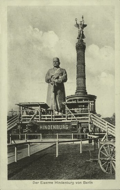 Postcard of the wooden statue of Hindenburg erected in Berlin for the first anniversary of Tannenberg