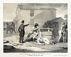1851 lithograph of Smith's body about to be mutilated (Library of Congress).